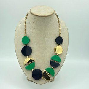Kate Spade Navy Blue Green Gold Geometric Necklace